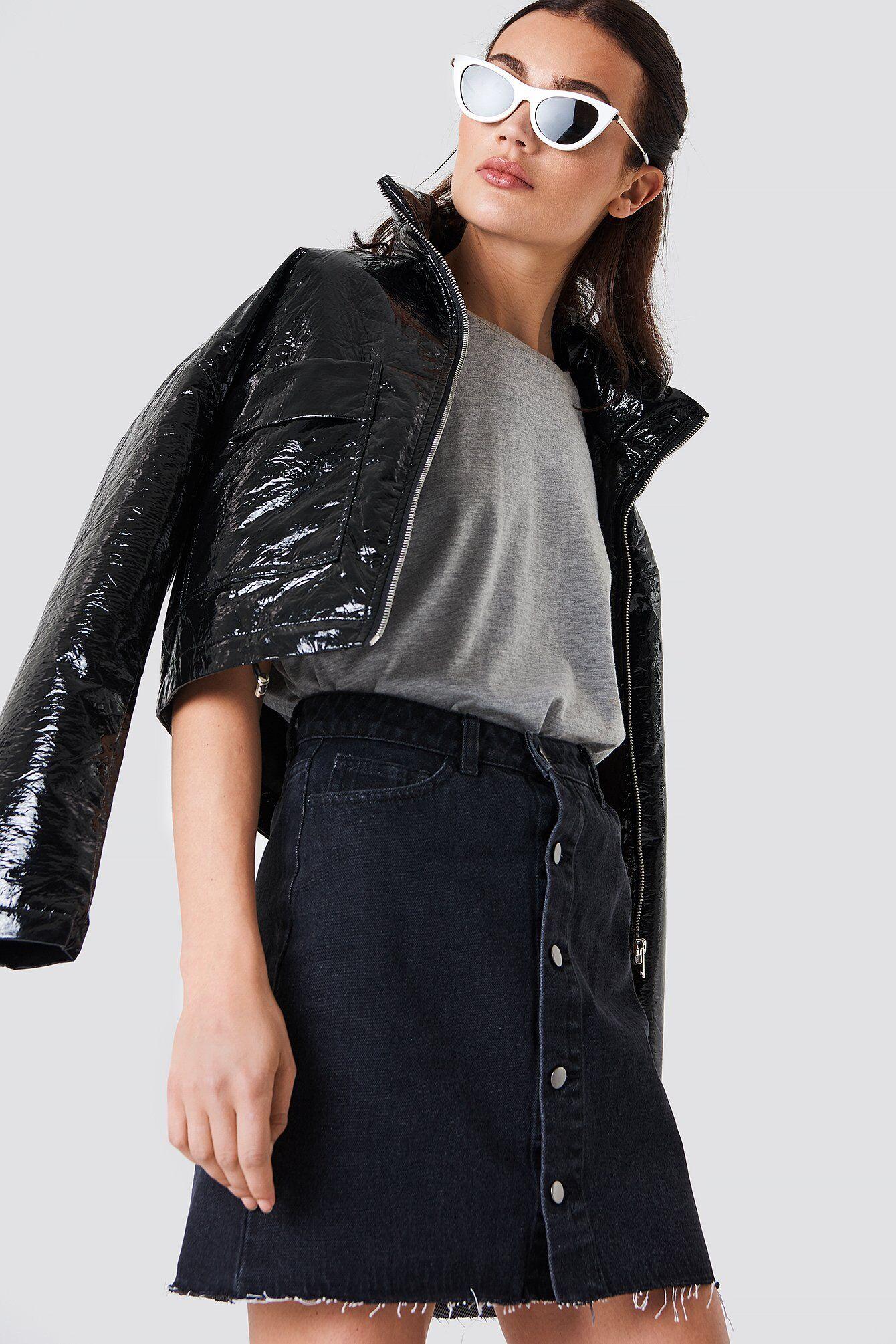 NA-KD Button Up Raw Hem Denim Skirt - Black