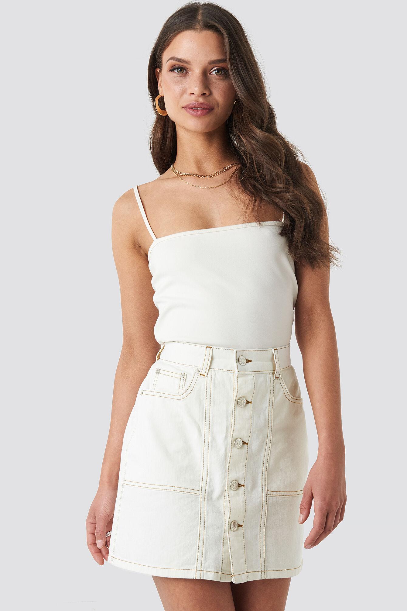 NA-KD Contrast Stitch Button Up Mini Skirt - Beige
