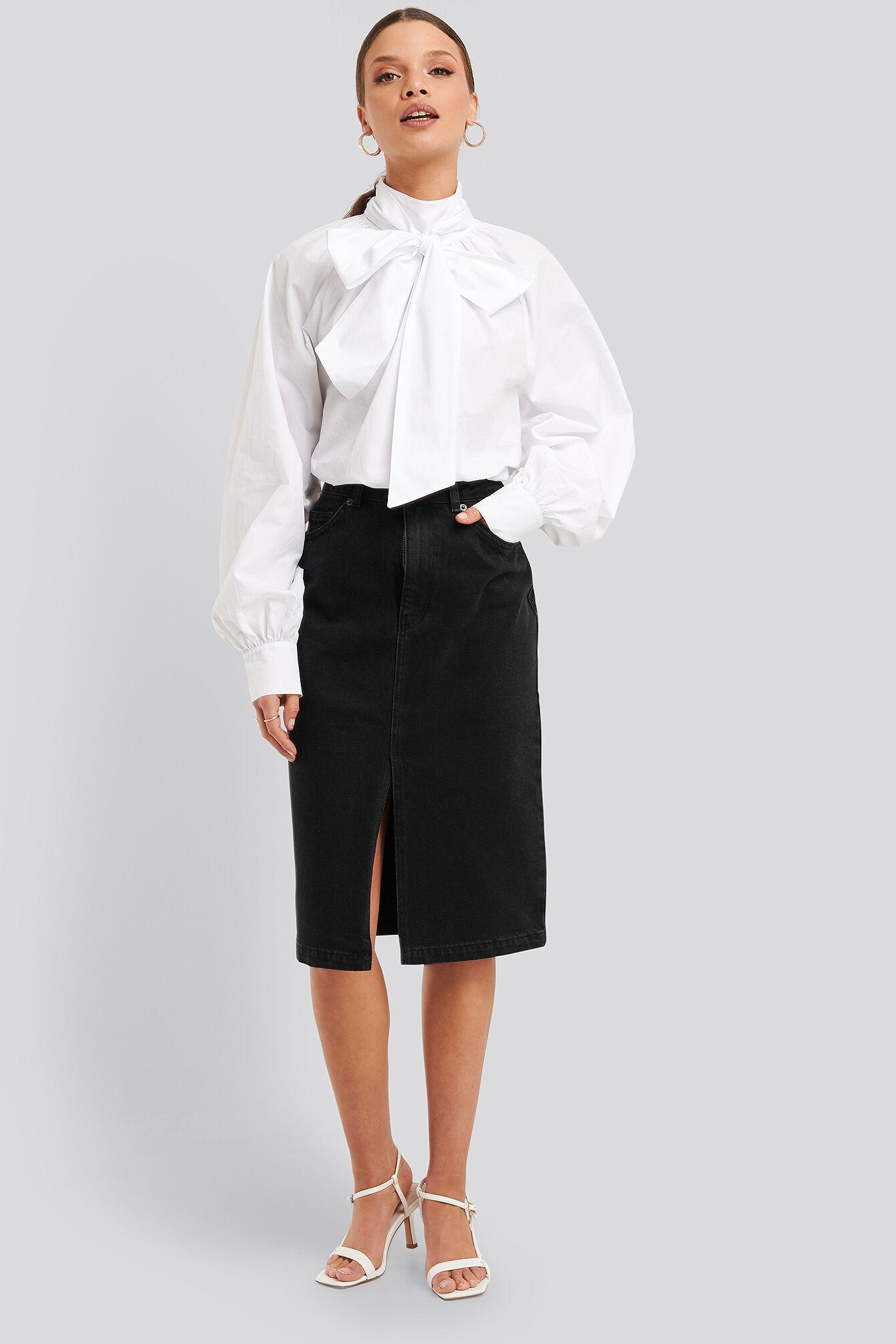 NA-KD Trend Front Split Midi Denim Skirt - Black