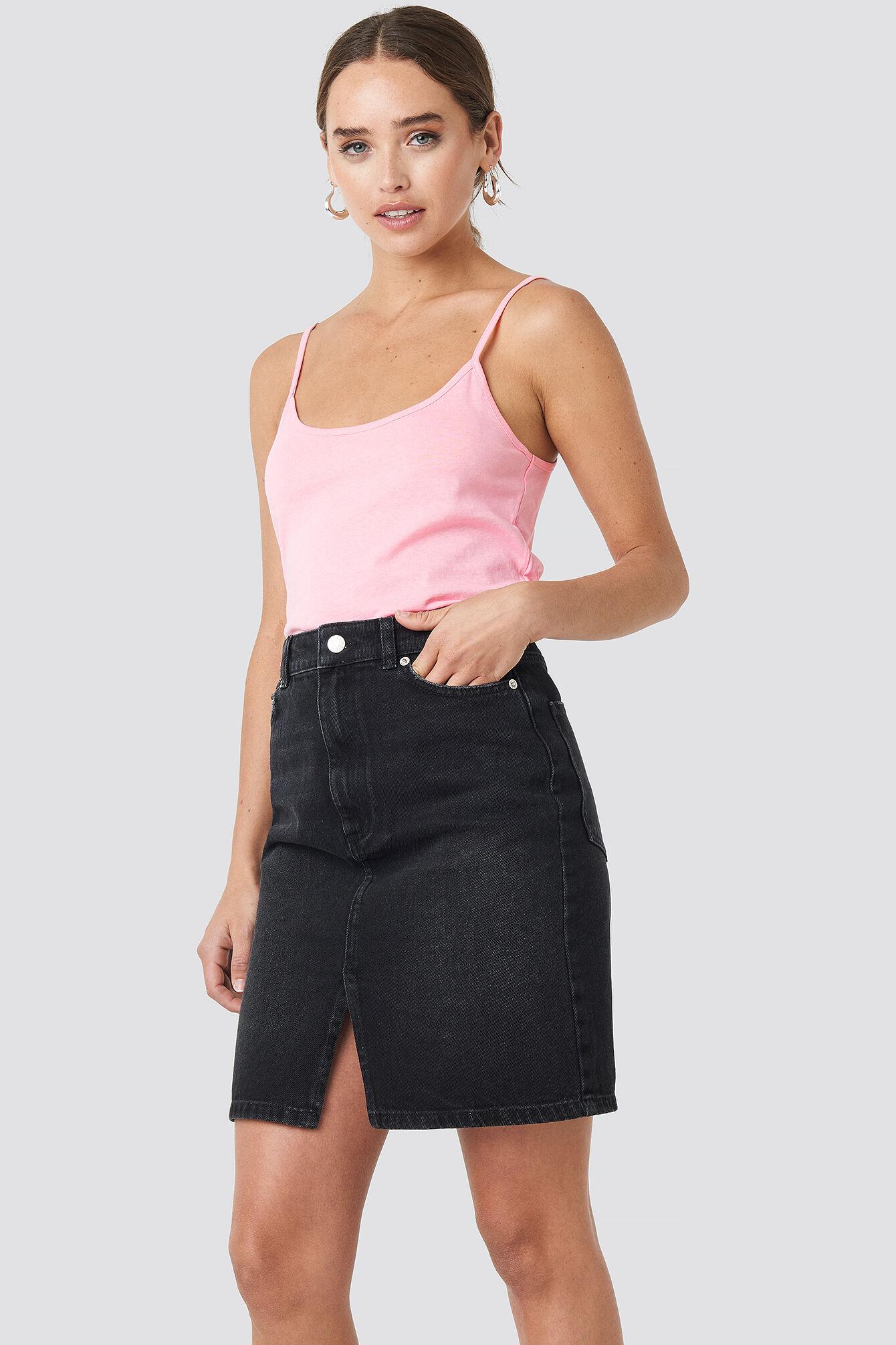 NA-KD Pencil Denim Mini Skirt - Black