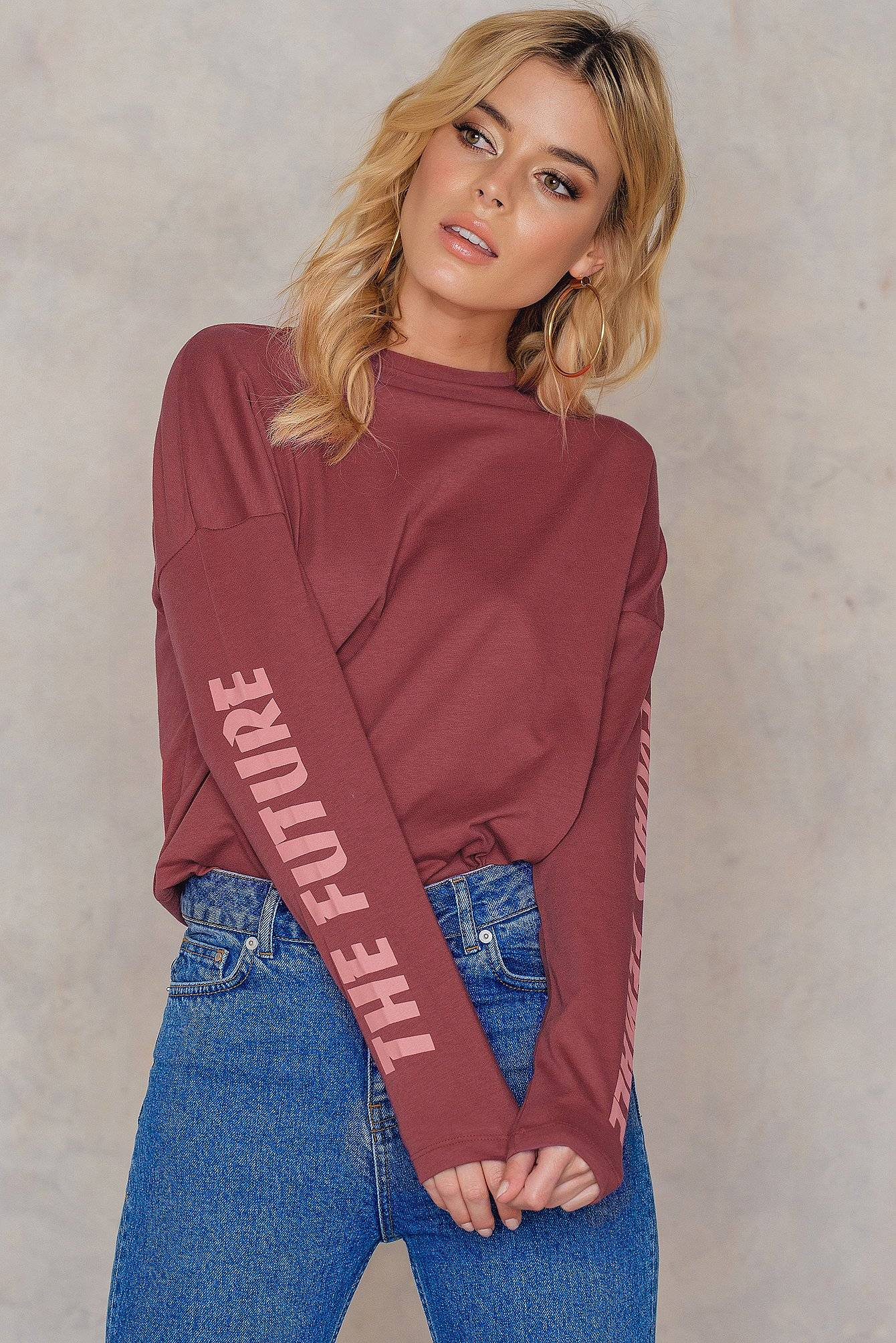 NA-KD The Future Equals Female Sleeves Top - Red