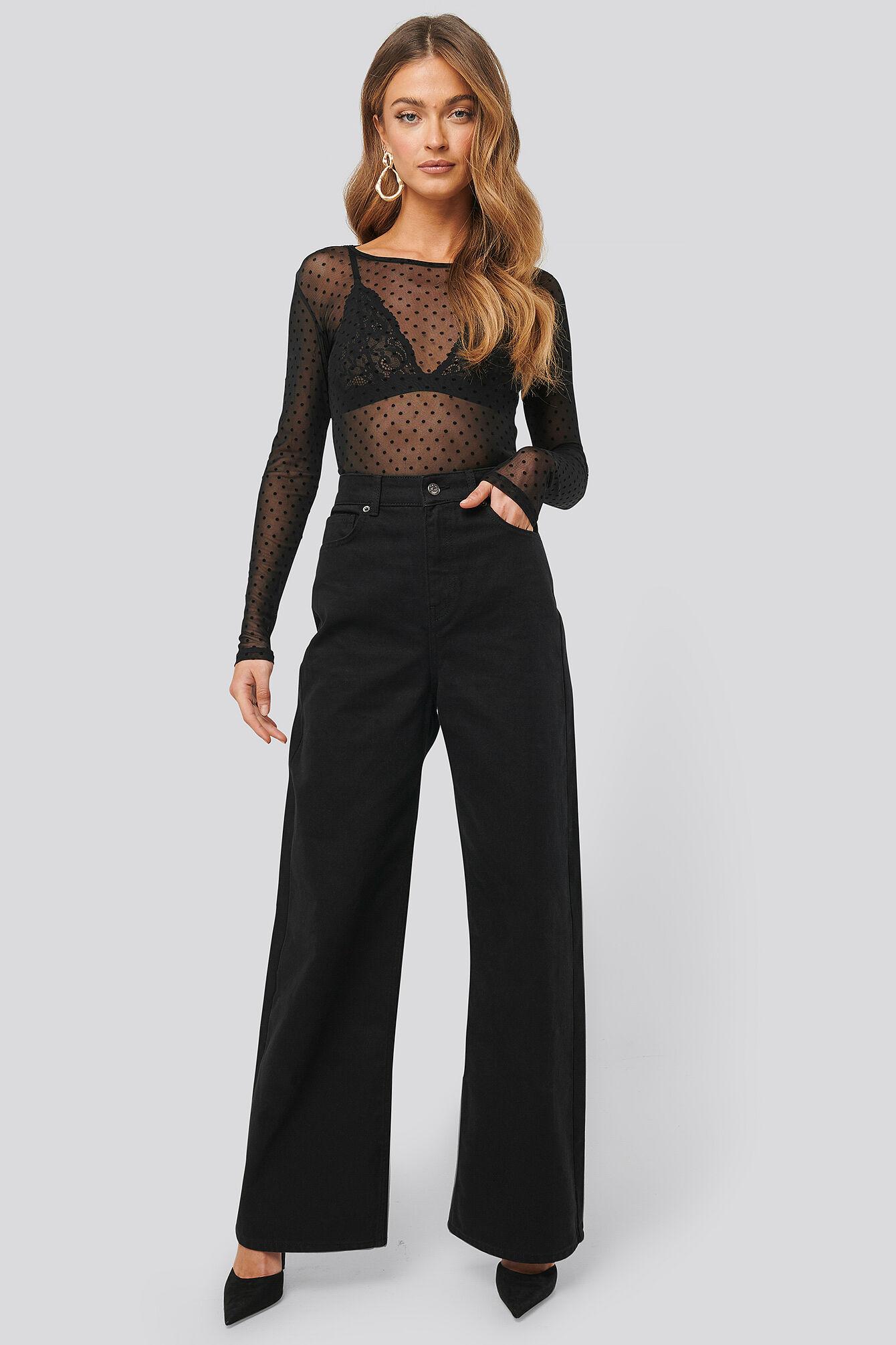 NA-KD Trend Wide Leg High Waisted Jeans - Black