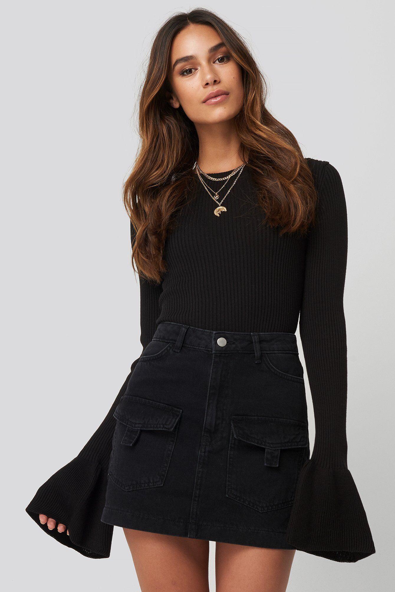 Queen of Jetlags x NA-KD Denim Cargo Skirt - Black