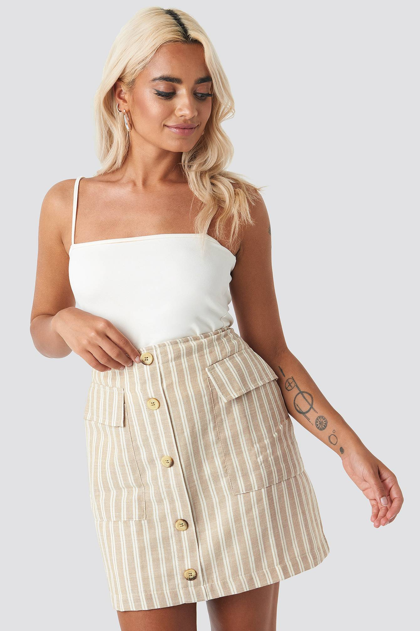 Trendyol Striped Mini Skirt - Beige