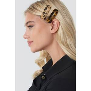 NA-KD Accessories Double Pack Squared Hair Clips - Brown