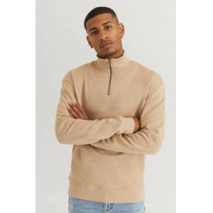 William Baxter Sweatshirt 1/2 Zip Rib Collar Sweater Beige
