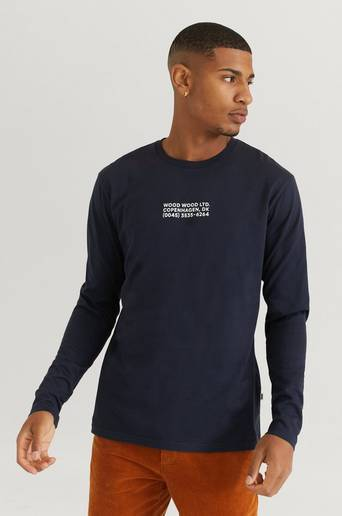 Wood Wood Långärmad T-Shirt Peter Long Sleeve Blå