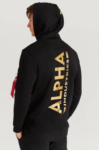 Alpha Industries Hoodie Back Print Hoody Foil Print Svart  Male Svart