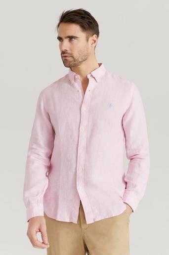 Polo Ralph Lauren Skjorta Zsc19 Slim Fit Linen Shirt Rosa  Male Rosa