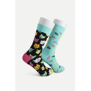 Happy Socks 2-Pack strumpor Cat Gift Box Multi