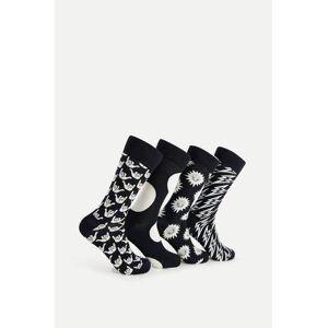 Happy Socks 4-Pack Strumpor Black And White Gift Box Svart
