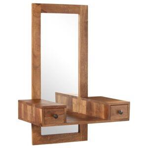 Vidaxl Sminkspegel Med 2 Lådor Massivt Sheshamträ