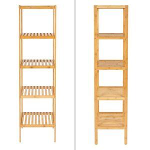 Ecd-Germany Ml-Design-Stående Hyllsystem Bamboo 5-Bin 37x33x140 Cm, Naturlig, Stabil, I Korridoren, Vardagsrum, Bambu Hylla Badrumshyllan Badrum Hylla Kök Hylla