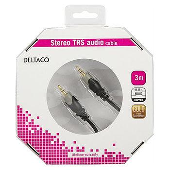 Deltaco 3,5mm TRS ljudkabel 3m (hane-hane)