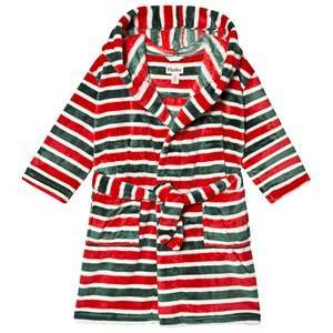 Hatley Holiday Stripe Fleece Morgonrock Röd L (6-7 years)