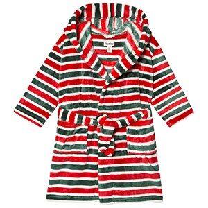 Hatley Holiday Stripe Fleece Morgonrock Röd XL (8-9 years)