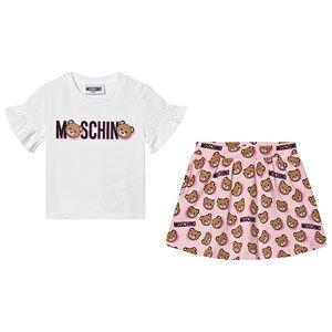 Moschino Kid-Teen Logo T-Shirt och Kjol Set Vit/Rosa 9-12 months