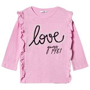 Guess Frill Front Love Guess T-shirt Rosa 16 years
