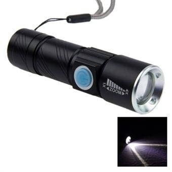 Uppladdningsbar Ficklampa Cree Q5 LED 3-Mode Vitt sken