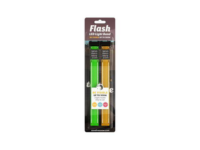 Reflexband Flash LED Light gul/grön 2/F