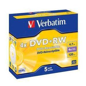 Verbatim DVD+RW Verbatim Jewelcase, 4,7Gb, 5/fp