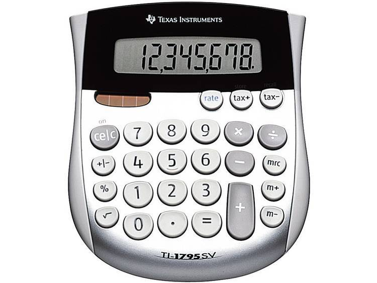 Texas Instruments TI-1795 SV Miniräknare Silver Display (ställen): 8 solcell, batteri (BxHxD) 118 x 10 x 138 mm