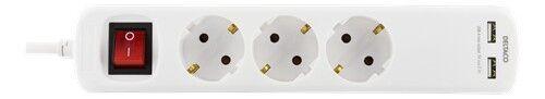Deltaco Grenuttag med 3 uttag och 2 USB-portar (5 m kabel)
