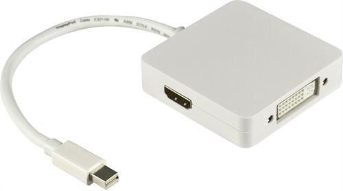 Deltaco MiniDisplayPort till DP/DVI/HDMI-adapter med ljud