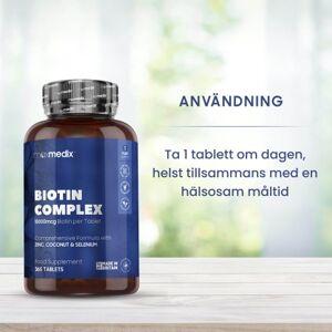 maxmedix Biotin Complex - 365 tabletter för ett års förbrukning - För hälsosamt hår, hud och naglar - 10 000 μg biotin per tablett