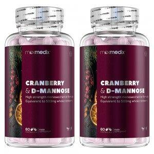 maxmedix Tranbärskapslar & D-mannose - 2 Pack - Mot återkommande problem med urinvägarna - För dem som drabbas av UVI - 2x60 Kapslar