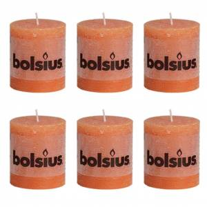 Bolsius Rustikálne valcové sviečky 80 x 68 mm, oranžové 6 ks