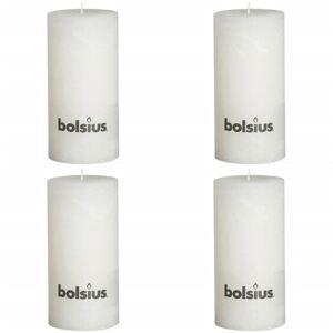 Bolsius Rustikálna valcová sviečka 200x100 mm, biela 4 ks