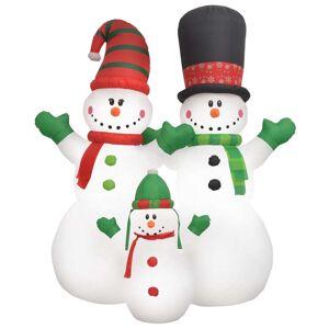 vidaXL Nafukovacie vianočné snehuliaky Santa Family, LED, IP44 240 cm