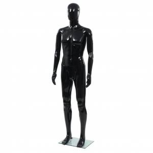 vidaXL Pánska figurína, sklenený podstavec, lesklá čierna 185 cm