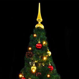 vidaXL Umelý vianočný stromček s ozdobami a LED diódami 210 cm zelený