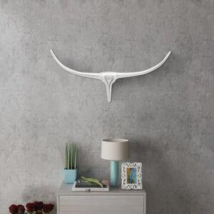 vidaXL Nástenná hliníková dekorácia hlavy byvola, strieborná, 72 cm