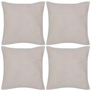 vidaXL Návliečky na vankúše, 4 ks, bavlna, béžové, 50 x 50 cm