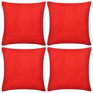 vidaXL 4 Návliečky na vankúše, bavlna, červené, 40 x 40 cm
