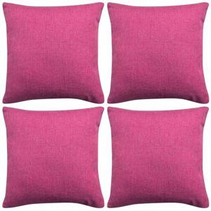 vidaXL Návliečky na vankúše, 4 ks, plátnový vzhľad, ružové, 50x50 cm
