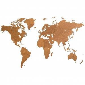 MiMi Innovations Drevená nástenná mapa sveta Giant, hnedá 280x170 cm