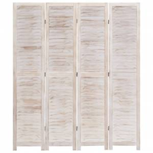 vidaXL 4-panelový paraván biely 140x165 cm drevený