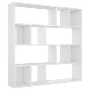 vidaXL Knižnica/deliaca stena lesklá biela 110x24x110 cm drevotrieska