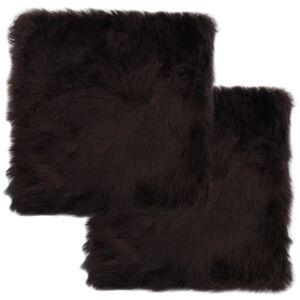 vidaXL Podsedáky na stoličky 2 ks hnedé 40 x 40 cm pravá ovčia kožušina