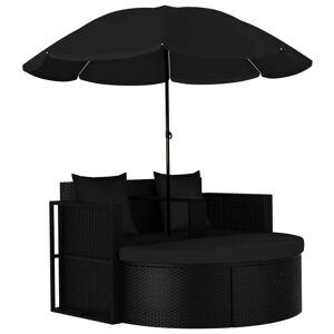 vidaXL Záhradná posteľ so slnečníkom polyratanová čierna