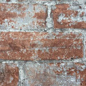 vidaXL Netkané tapetové rolky 4 ks, hnedo červené 0,53x10 m, tehla