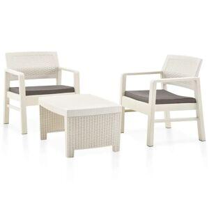 vidaXL 3-dielna záhradná sedacia súprava plastová biela