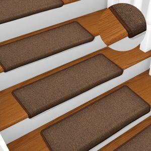 vidaXL Kobercové nášľapy na schody 15 ks, 65x25 cm, hnedé
