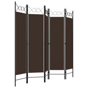 vidaXL Paraván s 5 panelmi, hnedý 200x180 cm
