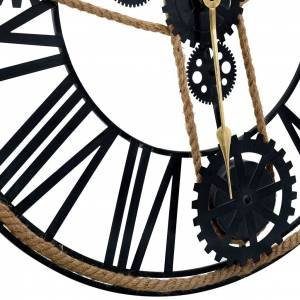vidaXL Nástenné hodiny čierne 80 cm kovové