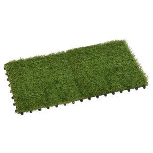 vidaXL Umelý trávnik 22 dlaždíc 30x30 cm zelený